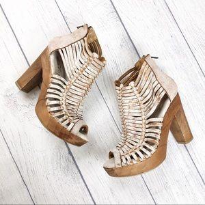 Sbicca Vintage Leather Caged Wooden Heel 6